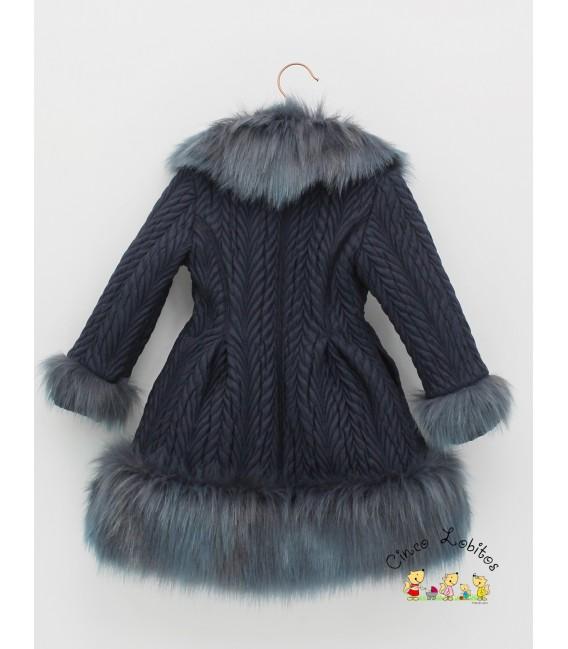 Abrigo azul marino con pelo de Foque