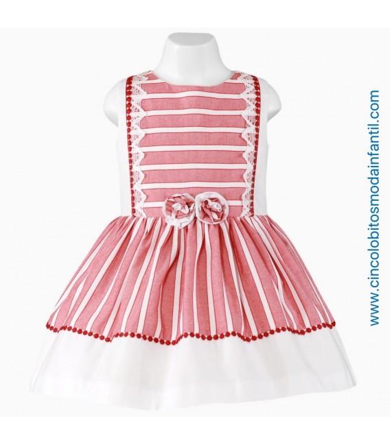Vestido Miranda en rojo y blanco